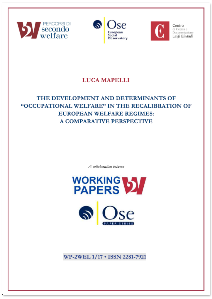 "The development and determinants of ""occupational welfare"""