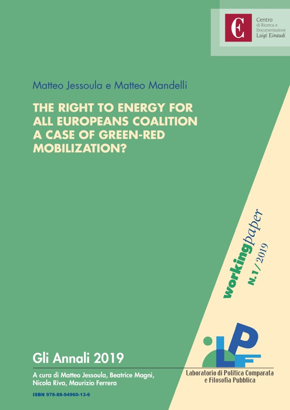 Copertina di The Right to Energy for All Europeans coalition. A case of green-red mobilization?
