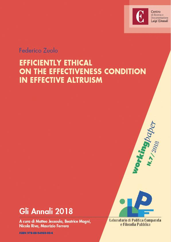 Efficiently Ethical. On the effictiveness condition in effective altruism
